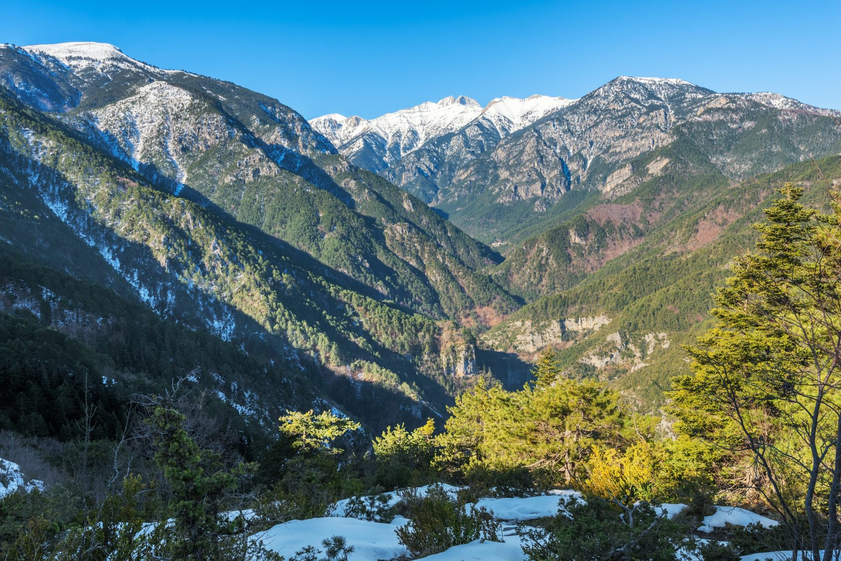 Olympus mountain in Greece, Enipeas gorge and the high peaks at distance