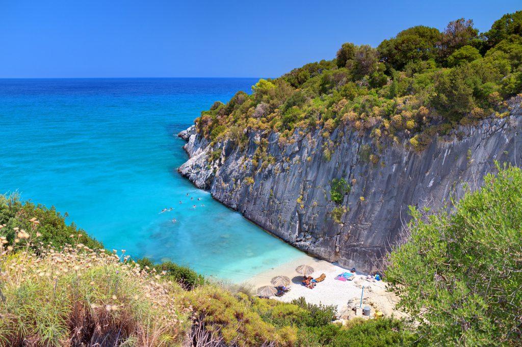 Widok na zatokę i plażę Xigia