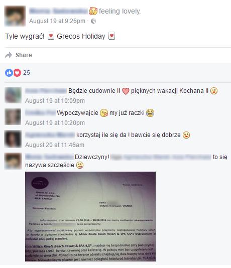 Wiadomość użytkownika z Facebooka